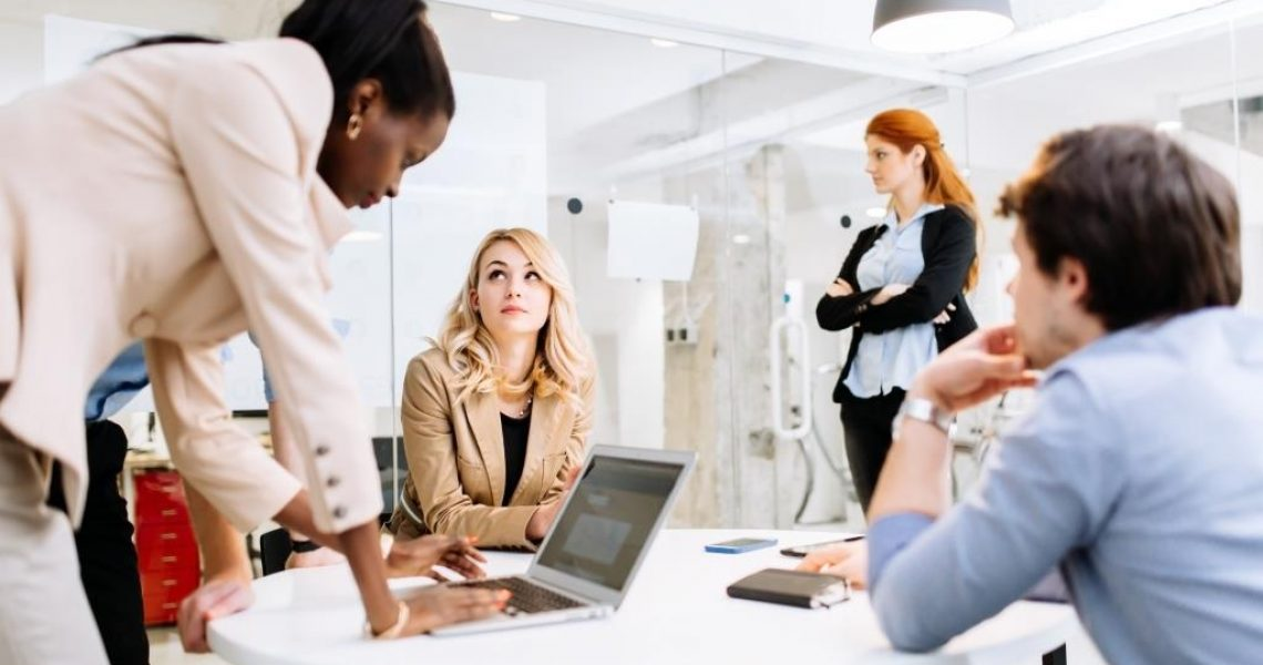 Smart business people working in modern office