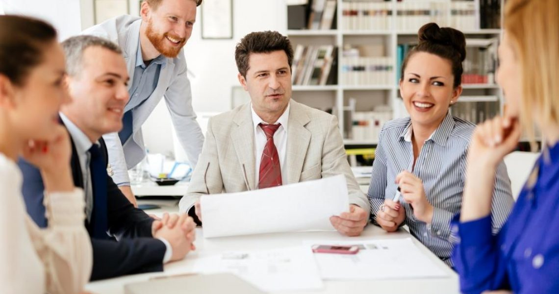 Business people working in office and brainstorming